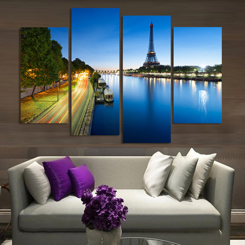 4 Panel Print Eiffel Tower Night Landscape Canvas Wall Art Print