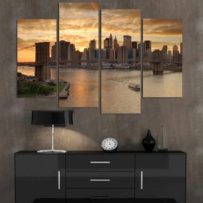 4 Panel Print New York City at Dusk Canvas Wall Art Print