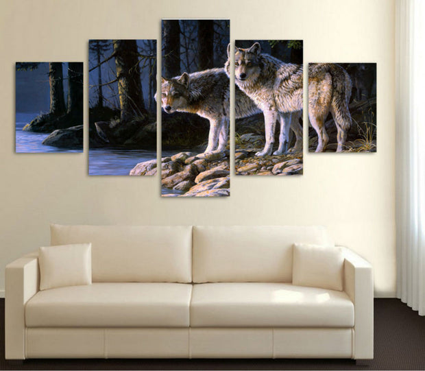 5 Panel Prints Two Curious Wolves