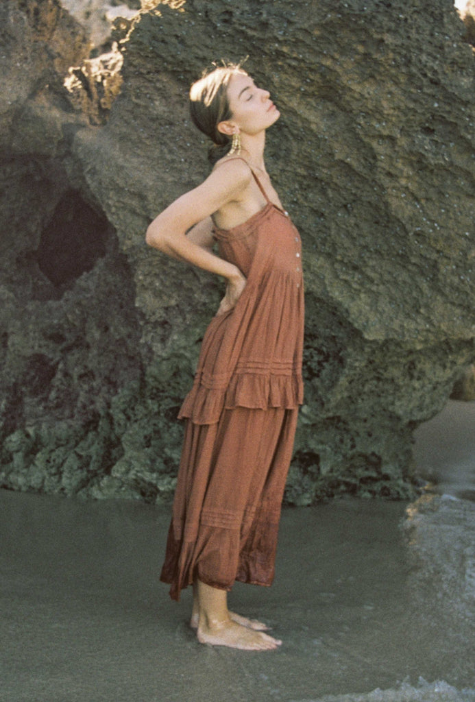 Kinga Csilla salt pleat dress rust