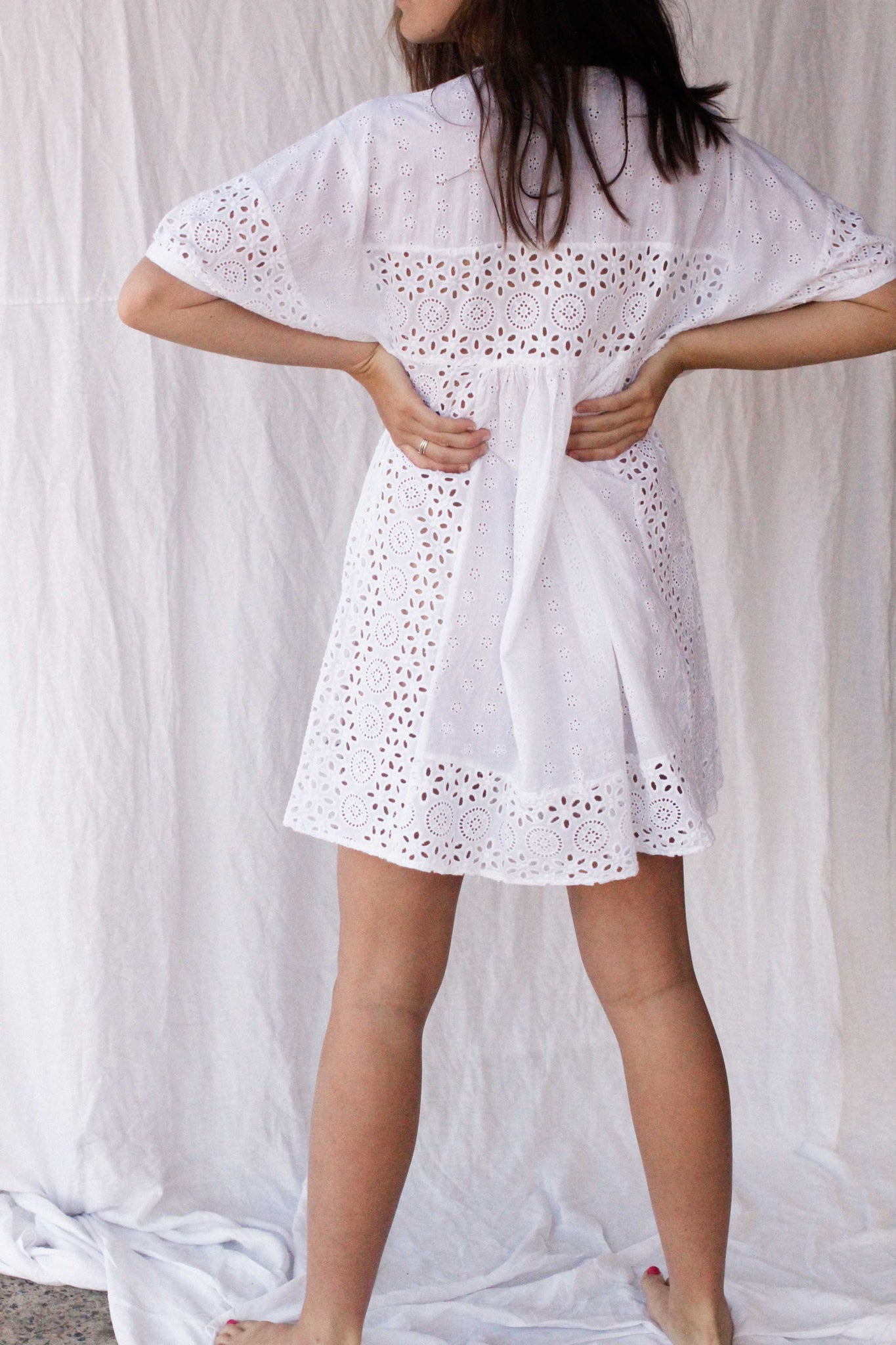 anglaise lollies dress - white