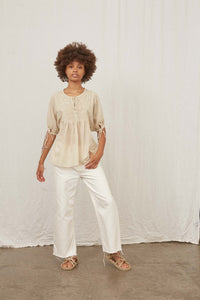 JASMINE EMBROIDERED BLOUSE - VINTAGE WHITE
