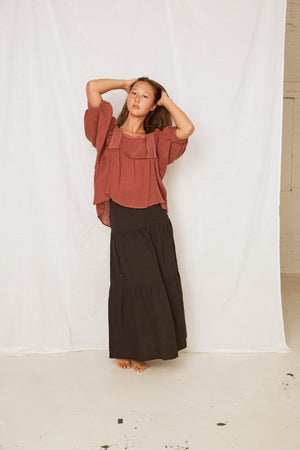 LINEN BLAEND SHELL SKIRT