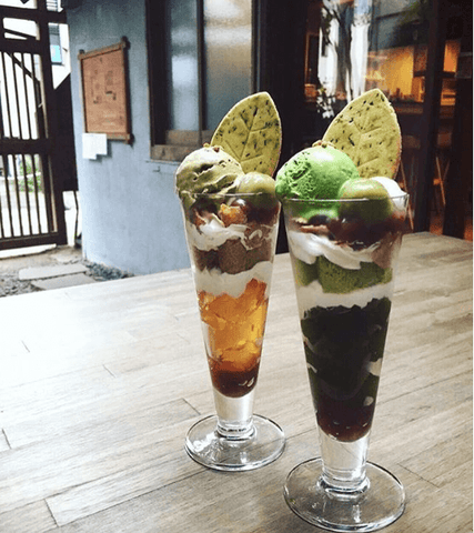 Hojicha and Matcha Parfaits