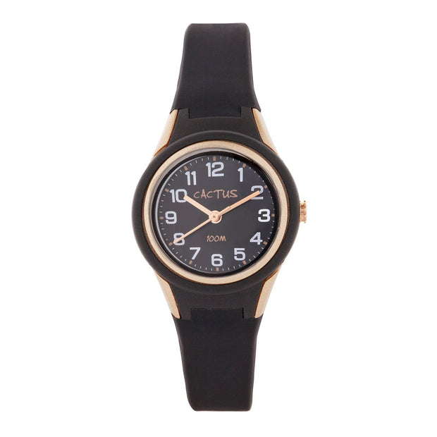 Tropical - Kids Waterproof Watch - Black / Rose Gold shop cactus watches