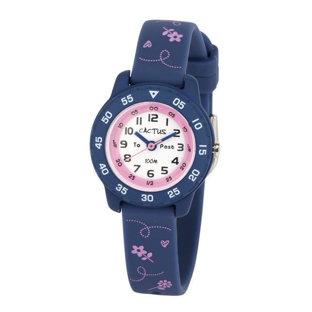 Junior - Time Teacher - Blue / Pink flowers Watches shop cactus watches