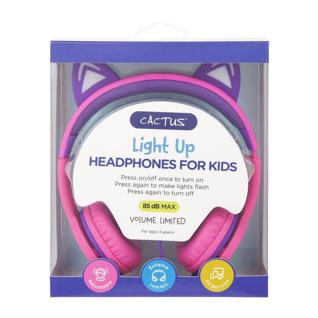 Kids Wired On-Ear Headphones - Cat Ear Light-up Headband Childrens Earphones - Pink/Purple Headphones Cactus Watches