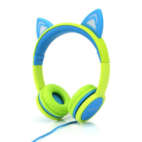 Headphones - Kids Wired On-Ear Headphones - Cat Ear Light-up Headband Childrens Earphones  - Lime/Blue