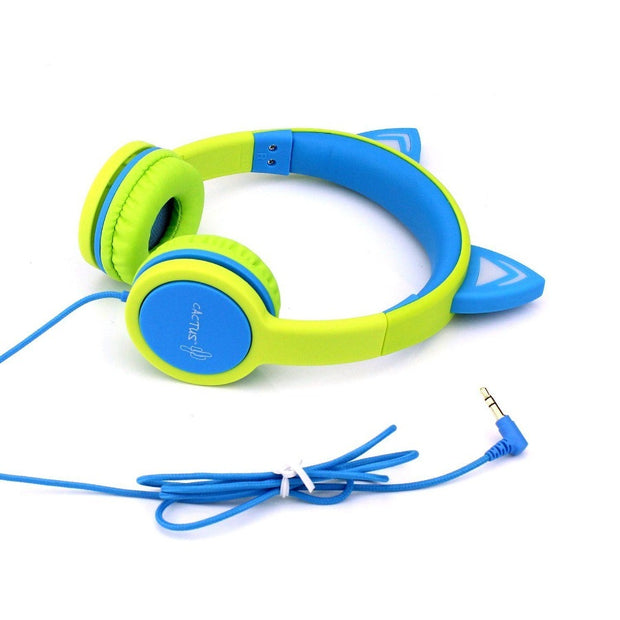 Kids Wired On-Ear Headphones - Cat Ear Light-up Headband Childrens Earphones - Lime/Blue Headphones Cactus Watches