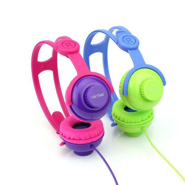 On-Ear Volume Control Kids Headphones - Pink/Purple Headphones Cactus Watches