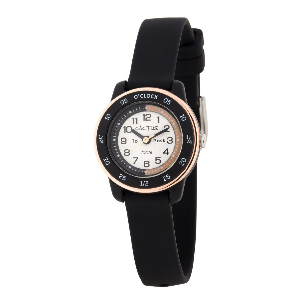 Watches - Time Coach - Time Teacher Watch For Kids - Black / Rose Gold
