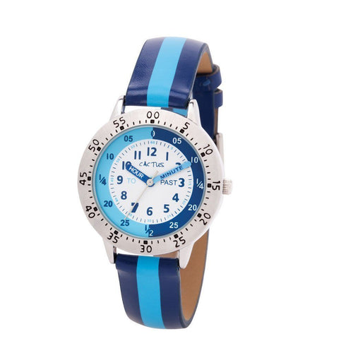 Watches - Time Smart - Time Teacher Watch - Blue Striped Band
