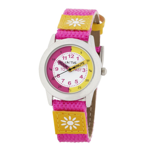 Watches - Time Teacher - Girls Kids Watch - Pink / Yellow With Flowers