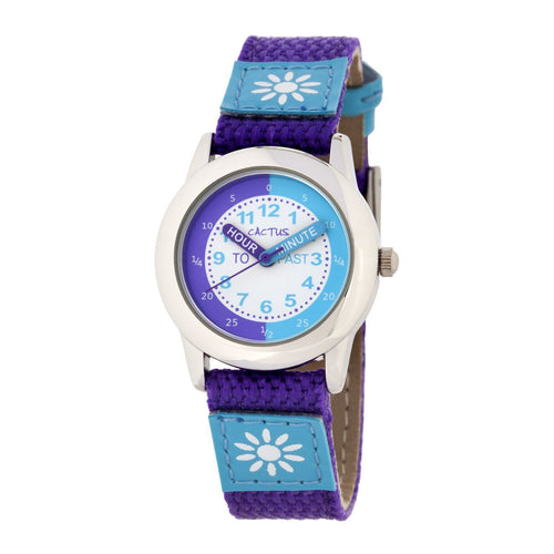 Watches - Time Teacher - Girls Watch - Purple / Blue With Flowers