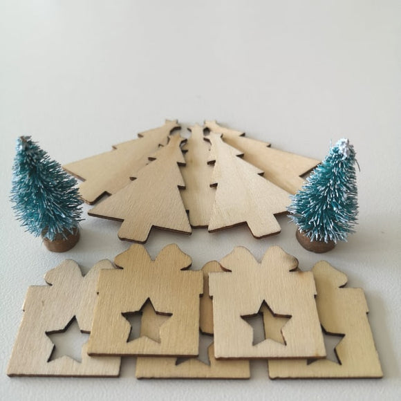 Christmas Wooden Embellishments - 12 Pieces