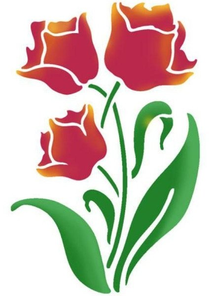 Stamperia Stencil - Flexible transparent 21x29,7cm -Tulip Flowers- KSG388, Art & Crafting Tools by The Craft House