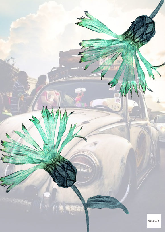A5 Sheet - Digital Download - Vintage Car Flowers