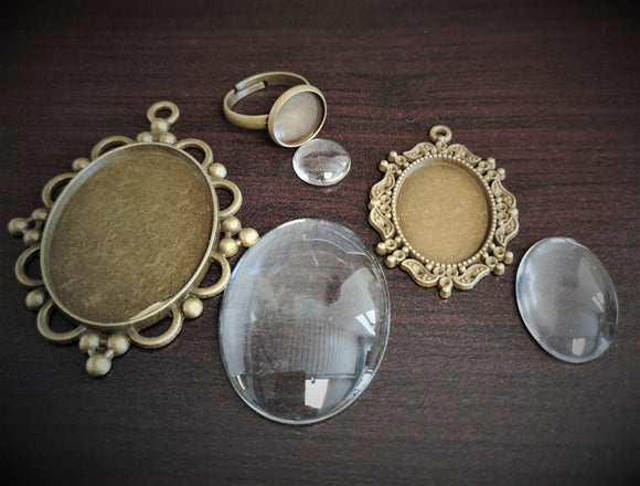 Antique Brass  2 x Pendant and 1 x Ring kit with glass - DaliART