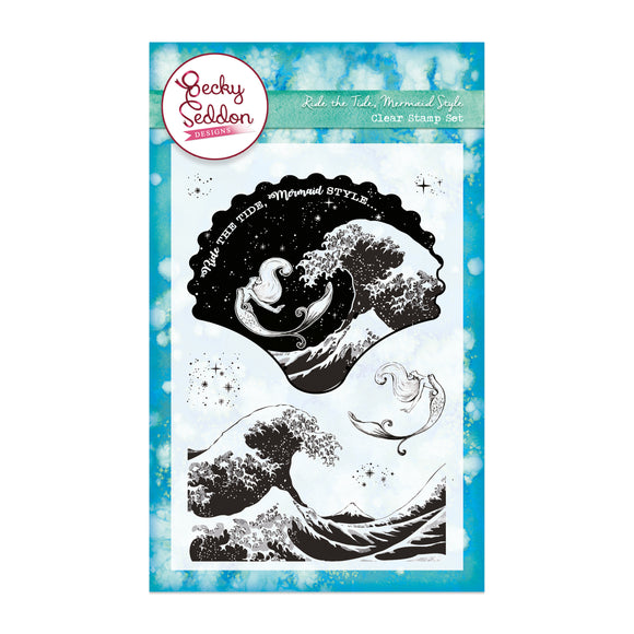 Becky Seddon Designs 'Ride the Tide Mermaid Style' A6 Clear Stamp Set