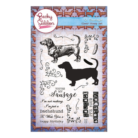 Becky Seddon Designs 'Oi Sausage' A6 Clear Stamp Set - DaliART