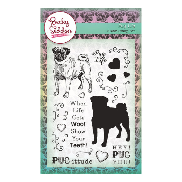 Becky Seddon Designs 'Pug Life' A6 Clear Stamp Set - DaliART