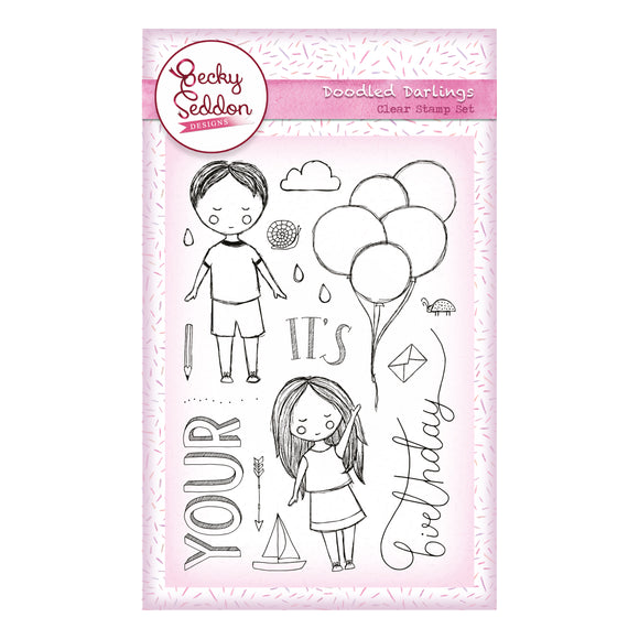 Becky Seddon Designs 'Doodled Darlings' A6 Clear Stamp Set - DaliART