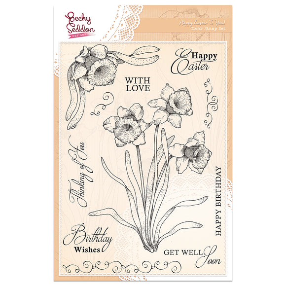 Becky Seddon Designs 'Happy Easter to You' A5 Clear Stamp Set - DaliART