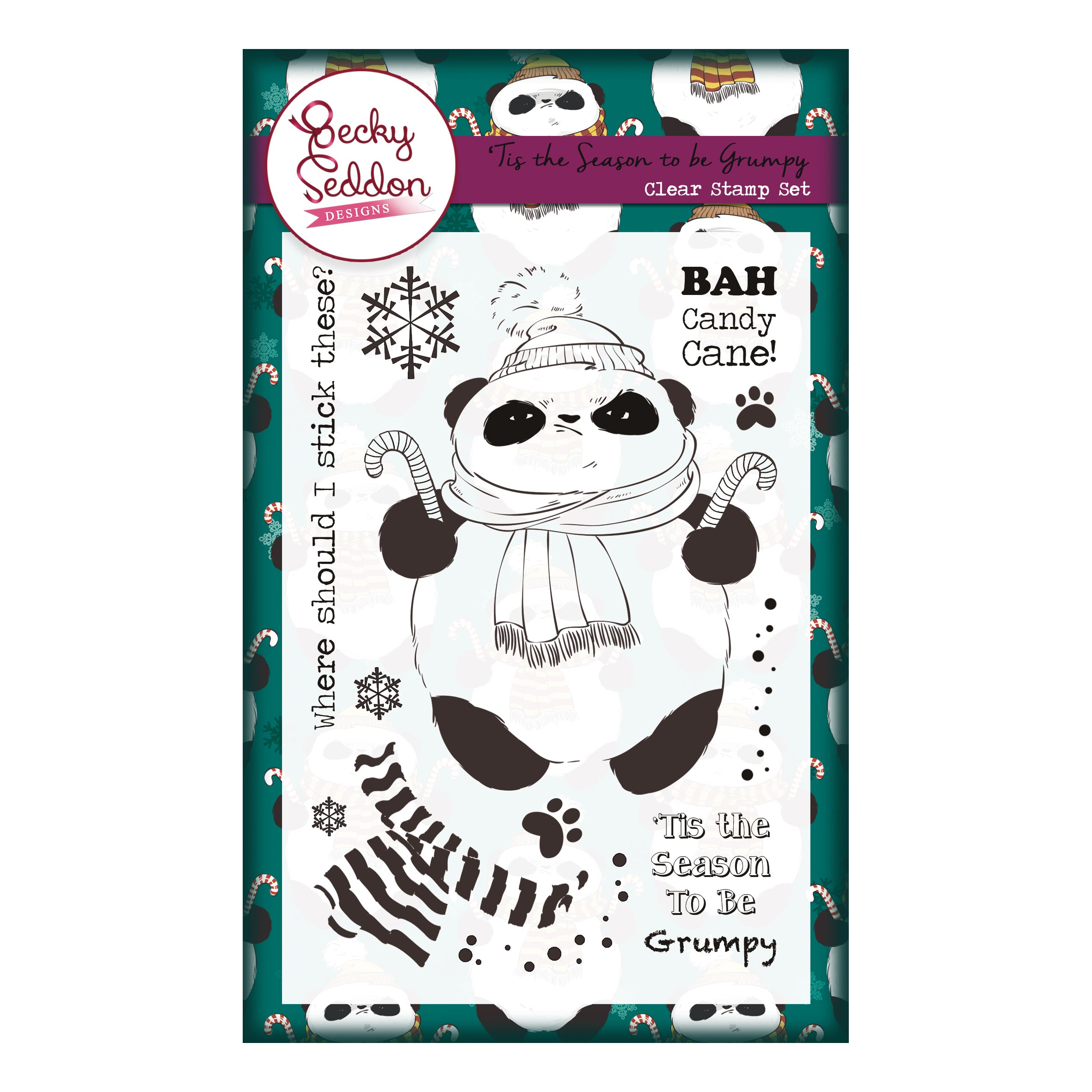 Becky Seddon Designs 'Tis the Season to be Grumpy' A6 Clear Stamp Set, Art & Craft Kits by The Craft House