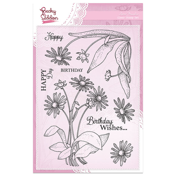 Becky Seddon Designs 'Aster Meadow' A5 Clear Stamp Set