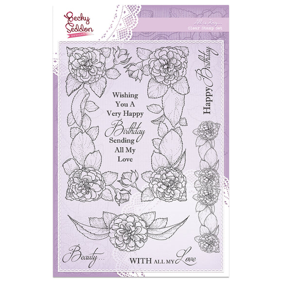 Becky Seddon Designs 'All is Rosy' A5 Clear Stamp Set