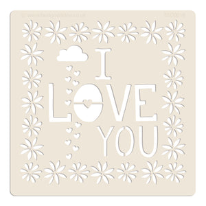 "Becky Seddon Designs 'I Love You' 7"" x 7"" Mylar Stencil - DaliART"