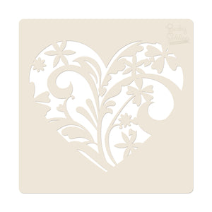 "Becky Seddon Designs 'Hearts and Flowers' 7"" x 7"" Mylar Stencil - DaliART"