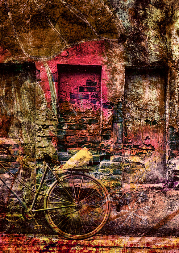 A4  Rustic Pink Bicycle - Digital Download