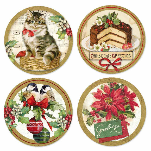 NEW Stamperia Adhesive Paper Circles - Christmas Vintage - DaliART