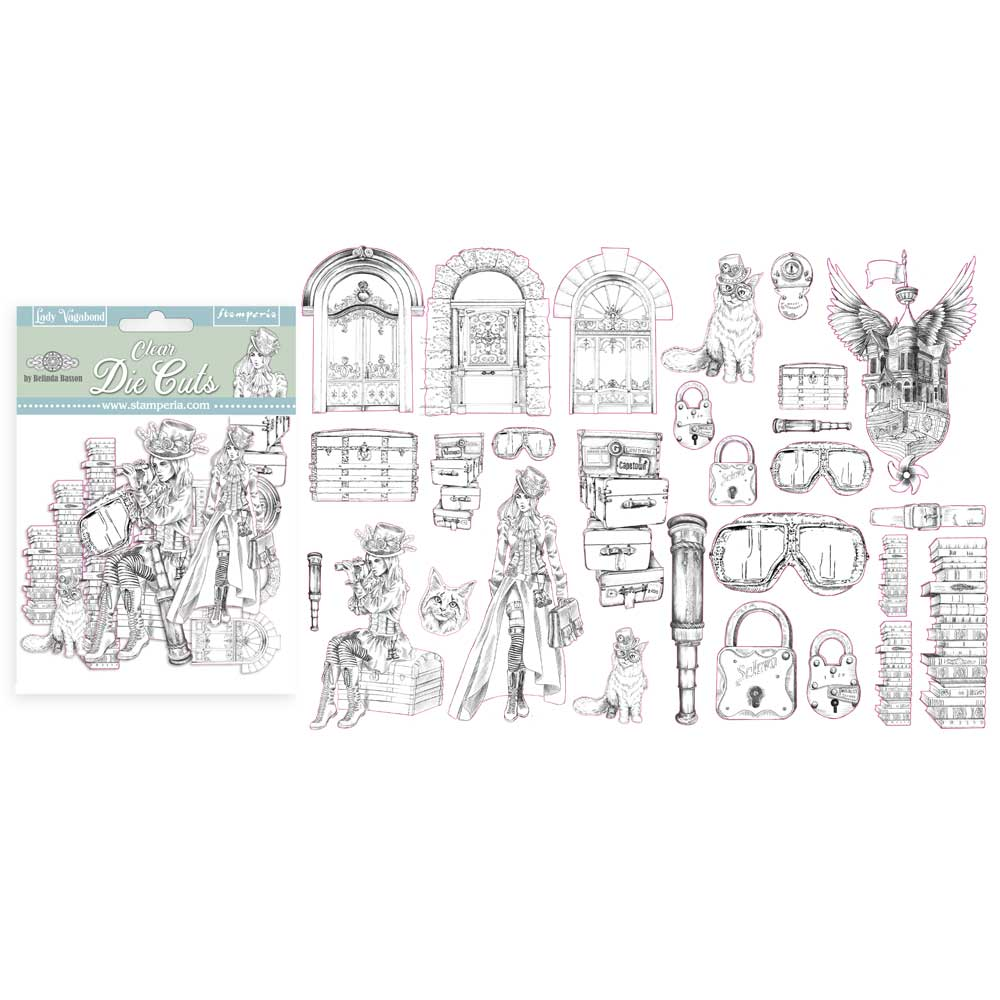 Stamperia Lady Vagabond  - Clear Die Cuts Assorted - DFLDCP02, Art & Craft Kits by The Craft House