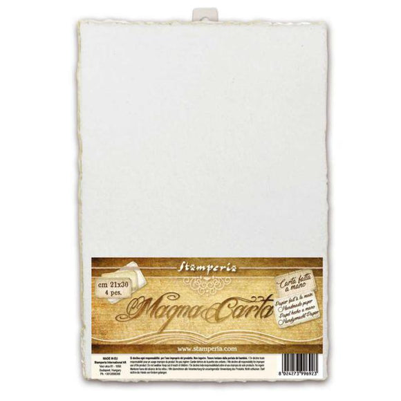 Stamperia Magna Carta Set of 4 Handmade Sheets - 21 x 30cm - White