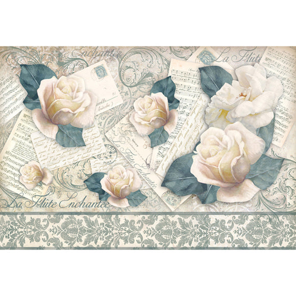 NEW Stamperia 48x33cm Decoupage Rice Paper - Musical roses - DaliART