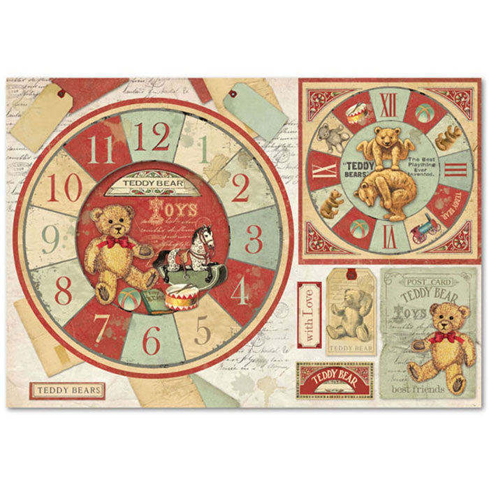 Stamperia 48x33cm Decoupage Rice Paper -Teddy Bear Clock - DFS359