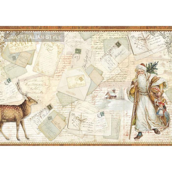 Stamperia 48x33cm Decoupage Rice Paper -Santa Postcards