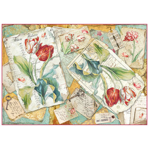NEW Stamperia 48x33cm Decoupage Rice Paper - Tulips - DaliART
