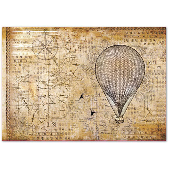 Stamperia 48x33cm Decoupage Rice Paper - Hot Air Balloon DFS379