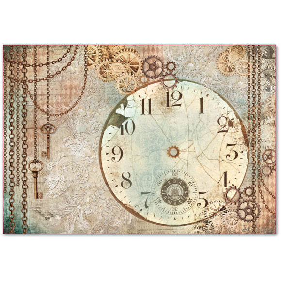 NEW Stamperia 48x33cm Decoupage Rice Paper - Clockwise Chains - DaliART
