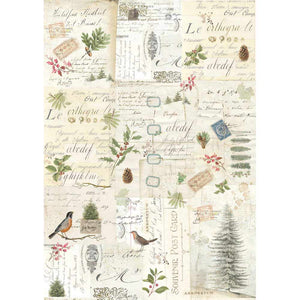 NEW Stamperia Decoupage Rice Paper - A3 Winter Botanic - DaliART