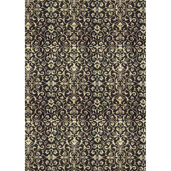 NEW Stamperia Decoupage Rice Paper - A3 Abrabesque with Black Background - DaliART