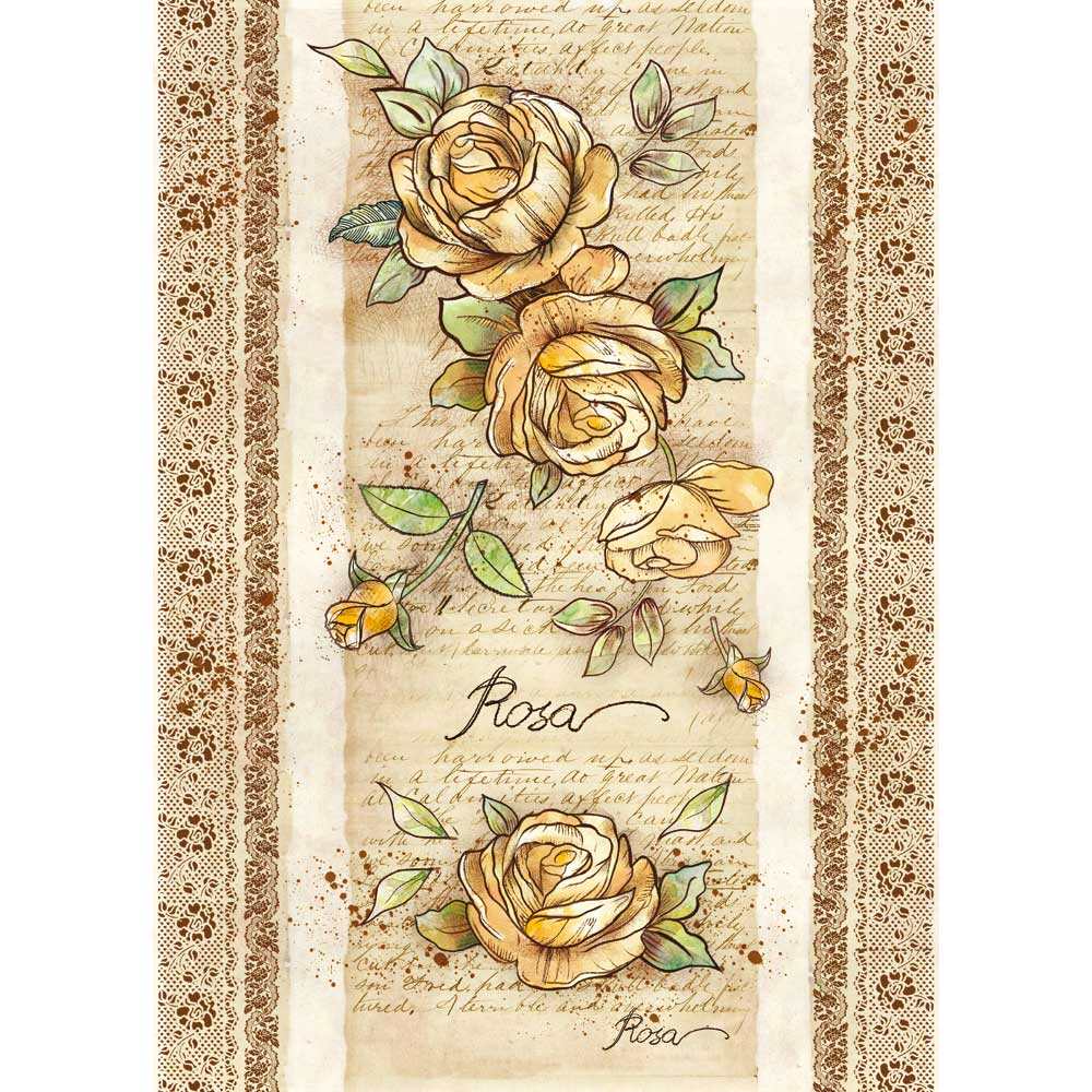 Stamperia Decoupage Rice Paper - A3 Voyages Flowers 2- DFSA3037