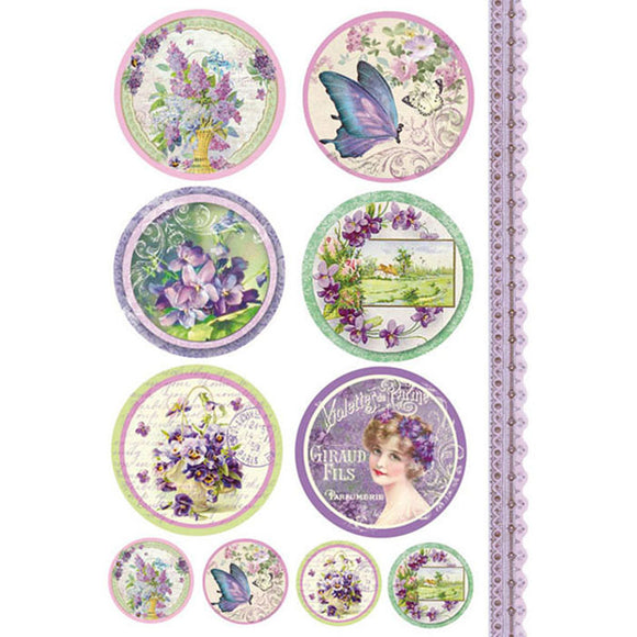 Stamperia A4 Decoupage Rice Paper - Violet Tags