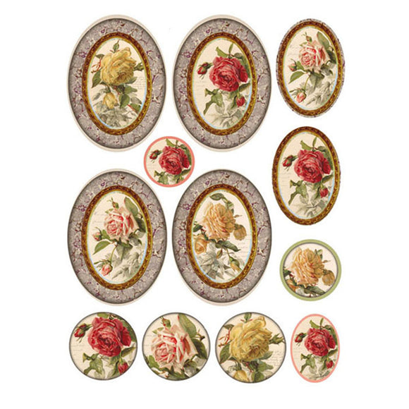 NEW Stamperia A4 Decoupage Rice Paper - Frames Roses  DFSA4083 - DaliART