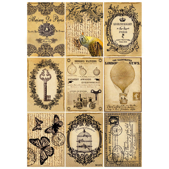 Stamperia A4 Decoupage Rice Paper - Steam Punk Post Cards DFSA4092