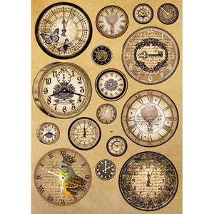 Stamperia A4 Decoupage Rice Paper - Vintage Clocks DFSA4093