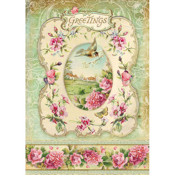 NEW Stamperia A4 Decoupage Rice Paper - Greetings & Frame -DFSA4095 - DaliART